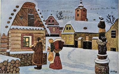 Vánoce - Josef Lada 1945, dob.víceb. ofset 20x14cm