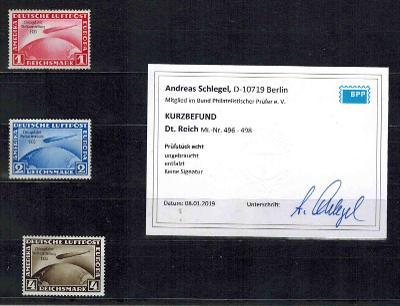 Reich - č.496-498 Zeppelin ChicagoFahrt * Attest Schlegel