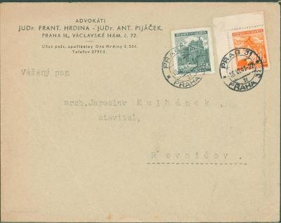 12B924 Úřední dopis JUDr. Hrdina + JUDr. Pijáček Praha - Řevničov