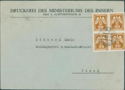 12B927 Dopis tiskárna Praha - knihkupectví  Plzeň, služební 4-blok zn.