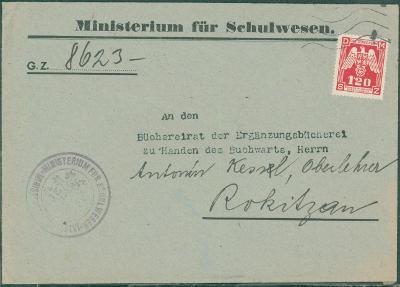 12B929 Dopis Ministerstvo školství - Kessl Rokycany, služební známka