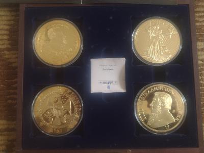 Kompletní kolekce pozlacených mincí průměr 70mm Zlatí Obři