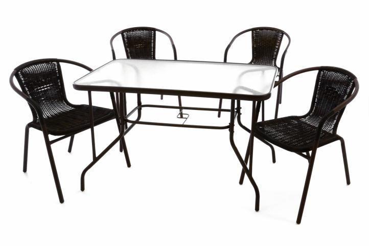 Zahradní polyratanový set - 4 židle a skleně 37023 - Zahrada