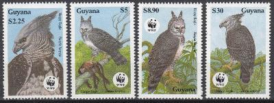 Guayana ** Mi.3077-80 WWF Harpyje, ptáci