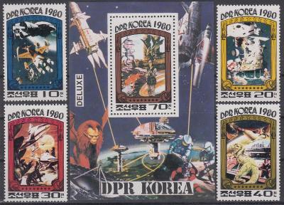 Korea (LDR) ** Mi.2003-06+Bl.75 Výzkum vesmíru