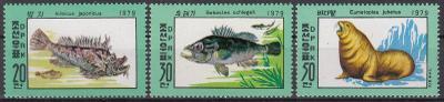 Korea (LDR) ** Mi.1937-39 Ryby, mořská fauna