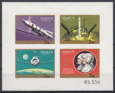 Maďarsko ** Mi.Kl.2611-14B Výzkum vesmíru, Sojuz 9 (Mi€ 25)
