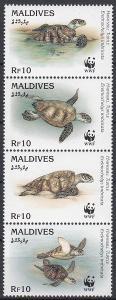 Maledivy ** Mi.2420-23 WWF Želvy