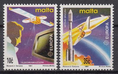 Malta ** Mi.854-855 Výzkum vesmíru