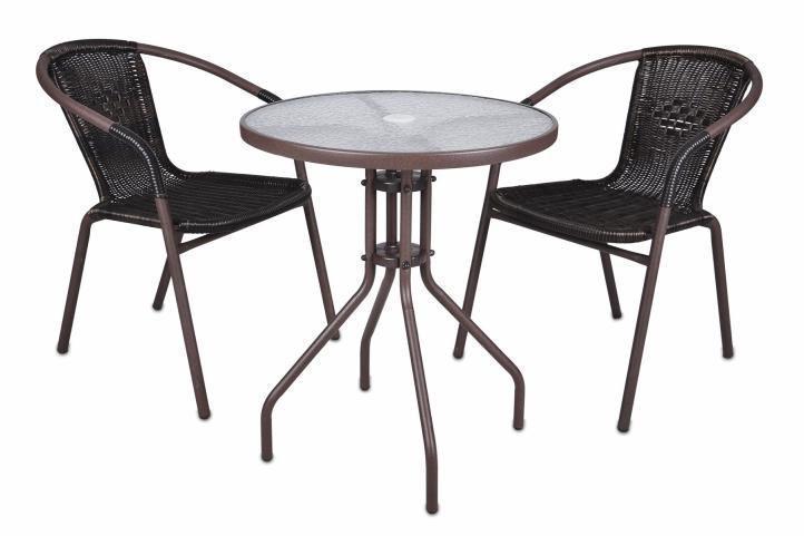 Bistro stolek se skleněnou deskou a 2 židle z 2345 - Zahrada
