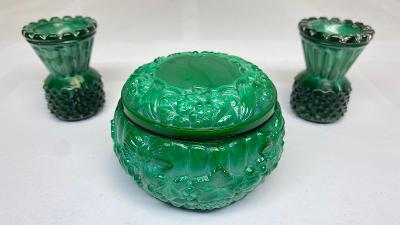 Malachitový set 1x miska 2x mini váza