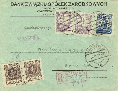 POLSKO - r.1926, reko-dopis z Varšavy do Brna, meziemisní frankatura