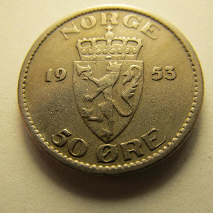 Norsko - 50 Ore  z roku 1953 - Numismatika