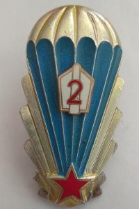 Odznak ČSSR - Parašutista výsadkář, tř. 2 těžká, číslovaná, žlutá