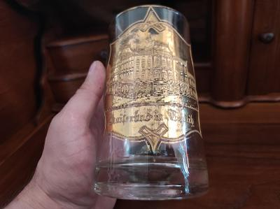 Starý krásný skleněný půllitr - Lázně Teplice - zlacený reliéf