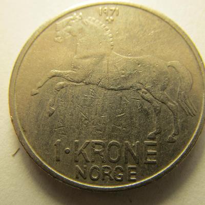 Norsko - 1 Krone z roku 1971 - Kůň