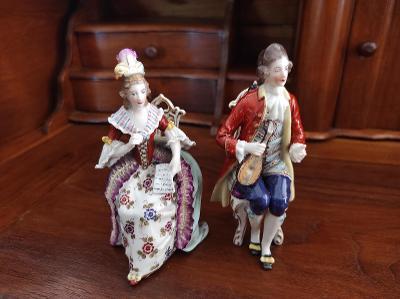 Stará krásná porcelánová soška - hudebníci - Vídeň - nepoškozená