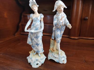 Stará krásná porcelánová soška - hudebníci - nepoškozená