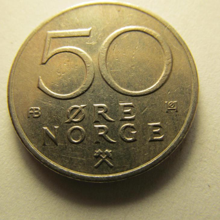 Norsko - 50 Ore  z roku 1978 - Numismatika