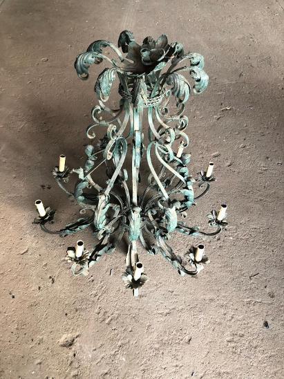 Velký kovaný lustr - Starožitnosti