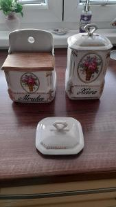 Starožitné porcelánové dózy na mouku a kávu Victoria Czechoslovakia