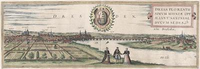 Dresden, Braun Hogenberg, kolor. mědiryt 1572