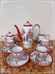 *** Starý porcelánový malovaný kávový servis sacuma orient ***