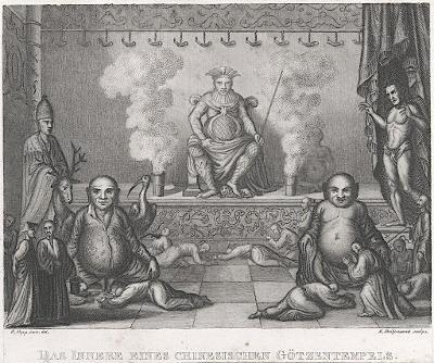 Čína chrám, oceloryt, (1830)