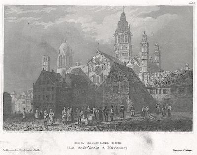 Mainz Dom, Meyer, oceloryt, 1850