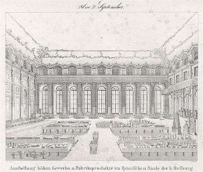 Praha Španělský sál výstava, litografie,1836
