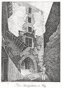 Praha Biskupská věž , Medau, Litografie, 1848