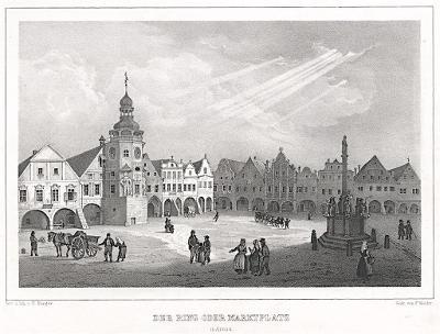 Hostinné náměstí, Semmler, litografie, 1845