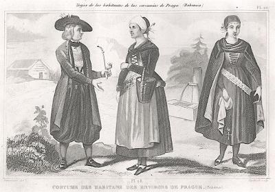 Češi kroje okolí Prahy, litografie , 1859