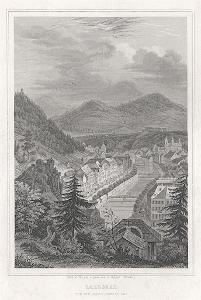 Karlovy Vary od Mariánské, oceloryt, 1842