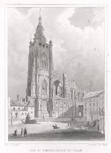 Praha chrám sv. Víta, Lange, oceloryt, 1841