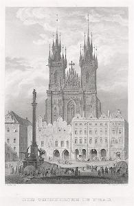 Praha Týnský chrám, Herloss, oceloryt, 1841