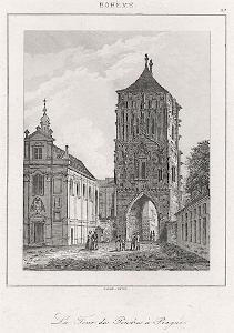 Praha Prašná brána, Le Bas, oceloryt 1842
