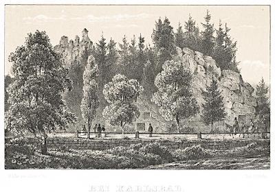 Karlovy Vary , Baronka Kotz, Litografie, 1861
