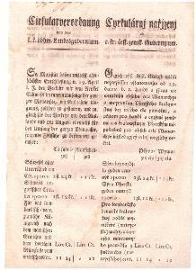 Cirkulář: Obchod se sýrou+sazebník cen, 1817
