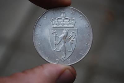 Stříbrná 10 koruna Norsko r.1964