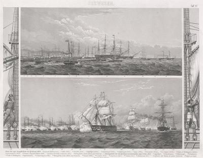 lodě 17., oceloryt, (1860 )