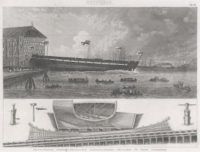 lodě 16., oceloryt, (1860 )