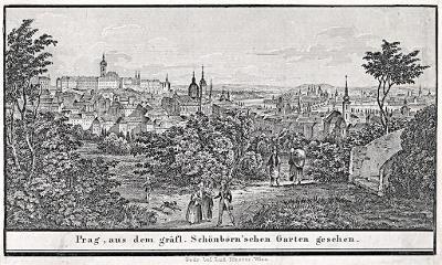 Praha ze Schönbornské zahrady,  litografie, 1840