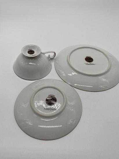 Porcelánové šapo s podšálkem a dezertním talířkem - Porcelán