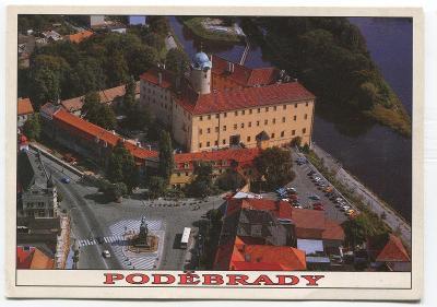 LÁZNĚ PODĚBRADY, o. Nymburk -  náměstí, zámek, letecký pohled
