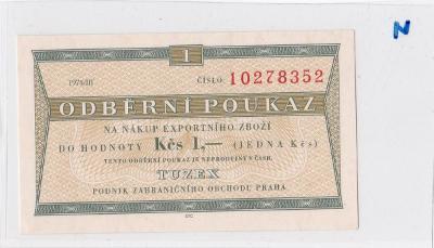 Tuzexová poukázka 1Kč, BON, stav UNC !! 1974/III