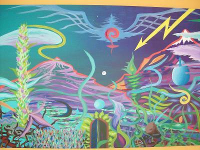 FIALOVÉ HORY ZA DŽUNGLÍ,     akryl na plátně, 60 x 90cm