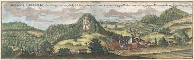 Schenck : Karlovy Vary pano, kolor. mědiryt, 1715