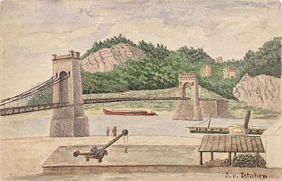 Děčín  řetězový most, akvarel, (1900)