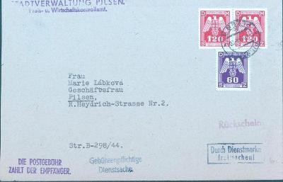 12B217 Služební dopis mnoho zajímavých razítek, vzácné